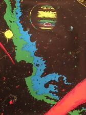 Vintage black light poster No. 5 Houston Pin-up 1970's Outer Space Planet