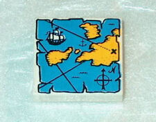 DECORATED TILE Lego Pirates Map White & Blue 2x2  NEW ver1