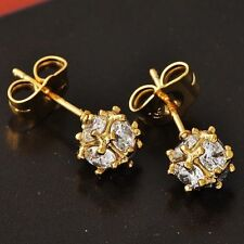 Exquisite Womens Yellow Gold Plated Clear CZ Megic Ball small Stud Earrings