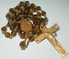OLD FRENCH BROWN CRYSTAL FACETS BEADS & FIX ROSARY  chapelet rosario rosaire
