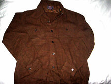 VTG PENDLETON USA WOOL BUTTON LOOP FLY COLLAR COPPER BLACK RUST SHIRT-NICE! M/L