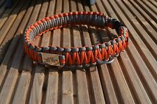 Paracord dog collar with name tag-king cobra