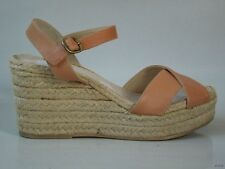 new $248 ETTORE MASOTTI Nordstrom NUDE leather espadrille WEDGE shoes Italy 11