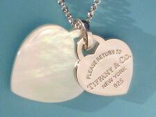 Tiffany & Co Return To Tiffany Double Heart Mother of Pearl Silver Necklace