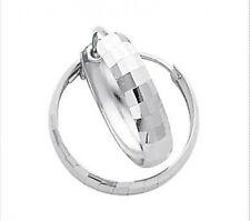 New Look! 100% 14K White Gold Faceted Wide Hoop Earrings - 15mm