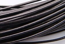 2mm Black Greek Leather Cord #40 (5 meters) Round Supple
