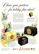 1948 RCA Victorla 8X542, 8X521, 8X681 small radio holiday dance party PRINT AD