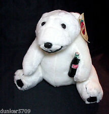 1993 SOFT PLUSH POLAR BEAR WITH COCA COLA BOTTLE 9 1/2 INCHES SITTING NEW W/TAGS