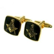 Gold Coloured Masons Masonic Cufflinks & Gift Pouch Smart Present For Him New