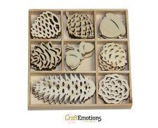 Craft Emotions BOÎTE de 40 FORMES EN BOIS ORNEMENTS POMMES DE PIN 0142