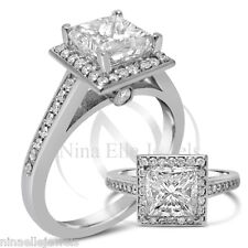 GIA CERTIFIED PRINCESS CUT ANTIQUE STYLE HALO DIAMOND ENGAGEMENT RING 14K P23