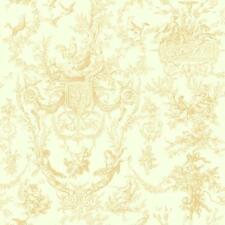 Wallpaper Old World French Country Cherub Rooster Toile Gold on Cream Backgroun