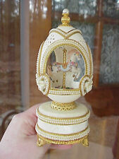 REAL Decorated Carved Goose Egg Horse Carousel Music Box Collectible Baby Shower