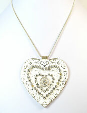 LADIES SILVER WHITE MULTI LAYER HEART NECKLACE (ST44)