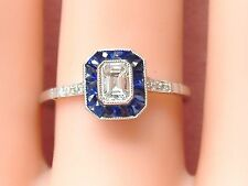 ART DECO STYLE .34ct EMERALD CUT DIAMOND SAPPHIRE HALO SMALL ENGAGEMENT RING