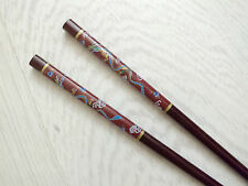JAPANESE BROWN D RED DRAGON CHOPSTICKS HAIR STICK CHINESE DINNER NEW YEAR PARTY