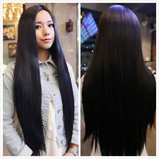 Womens Long Straight Black Hair Cosplay Halloween Full Party Wig Fancy Dress Wig