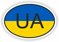 OVAL FLAG WITH UA UKRAINE COUNTRY CODE STICKER CAR MOTOCYCLE AUTO TRUCK