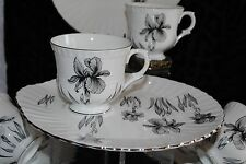CROWN STAFFORDSHIRE BLACK WHITE IRIS ENGLAND 7 SNACK LUNCH PLATE CUP SETS