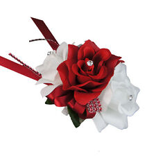 Wrist Corsage - Artificial Red and White Open Roses - Ready-to-use