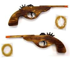 SOLID WOOD ELASTIC SHOOTING LONG BARREL GUN 12 IN rubber band shooter toy pistol