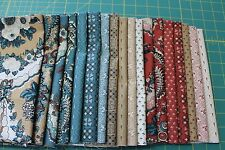 "18 ""OHIO STAR"" CIRCA 1850 FLORAL QUILT FABRIC FAT QUARTERS FOR BLUE HILL"