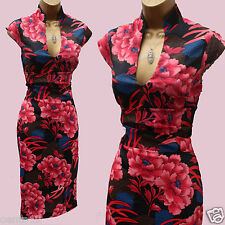 KAREN MILLEN Black Red Stretch Satin Oriental Floral Cocktail Wiggle Dress 10 UK