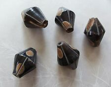 5 Large Carved Spotted Dark Brown Horn Bicone Beads 20x28mm