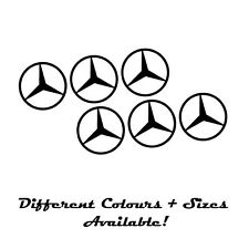 MERCEDES  EMBLEM  LOGO  SET OF 6 BLACK  10 CM  WHEEL TRIMS