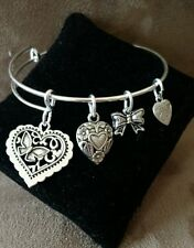 Expandable Silver Colored Bangle Charm Bracelet HEART BUTTERFLY