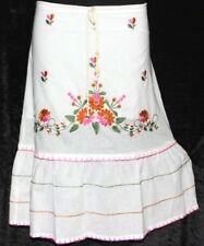 S WHITE GYPSY BOHO HIPPIE BOHEMIAN RENAISSANCE PEASANT EMBROIDERED RETRO SKIRT