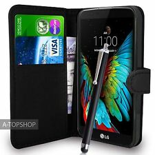 Black Wallet Case PU Leather Book Cover For LG K10 K420N Mobile Phone