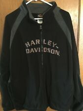 HARLEY DAVIDSON MENS XL BLACK ZIPPER FRONT FLEECE JACKET ALL EMBROIDERED! EUC!