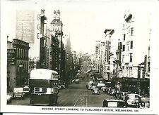 Old B & W Mini Photocard , Bourke St looking to Parliament Hou, Melbourne .(C)