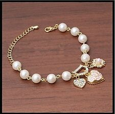 Fashion Jewelry Bohenmia Heart&D with Floral imitation Pearl Love Heart Bracelet