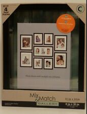 "Set of 4 -- 11x14"" Black Wood Double Glass Floating Picture Photo Hanging Frames"