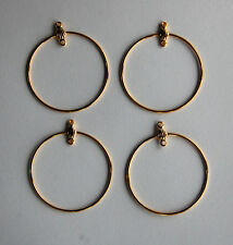VINTAGE 4 GOLD METAL CIRCLE EARRING PENDANT BAILS 1.25 inches 32mm A