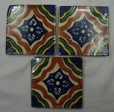 1x Hand-Made Ceramic Mexican Wall Tile Hand Painted Mexico Terracotta Tiles R23B