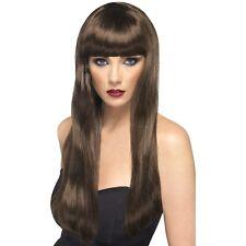 Womens Brown Beauty Wig Long Straight Fringe Fashion Model Fancy Dress Pop Star