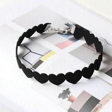 Korean Style Woman Black Link Love Heart Velvet Choker Collar Pendant Necklace