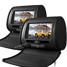 "XTRONS 2X 7"" HD CAR DVD CD Player IR FM USB Games Digital Monitor Headrest Black"