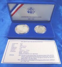 1986 S 50C-$1 Statue Of Liberty Commemorative Coin Set With Box And COA