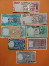 8  DIFFERENT Notes -  India Bank Notes - UNC-With Staple Holes - FREE SHIPPING
