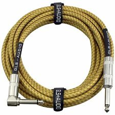 """GLS Audio 20 Foot Vintage Tweed Guitar Instrument Cable Right Angle 1/4"""" 20ft"""