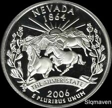 2006 S 90% Silver Nevada State Quarter Deep Cameo Gem Proof No Reserve