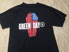 Green Day Band T Shirt Tee Black Zipper Flag Coffin Gently Used Condition