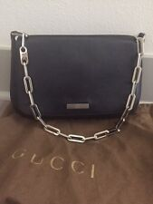 GUCCI BLACK LEATHER SILVER CHAIN CLUTCH/PURSE--100% AUTHENTIC