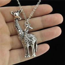 "16-2 18"" Silver Chain Collar Choker Necklace Animal Giraffe Mom Baby Pendant"