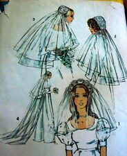 LOVELY VTG 1970s BRIDAL HATS & VEILS Sewing Pattern