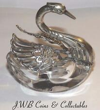 Vintage / Antique German 835 Silver & Glass Swan Salt Cellar By Albert Bodemer